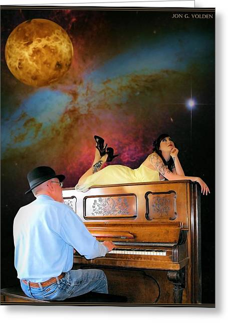Dream Scape Greeting Cards - Play It Again Sam Greeting Card by Jon Volden