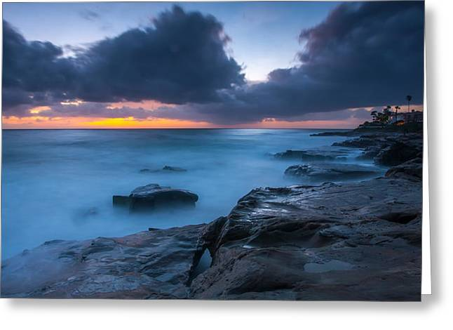 La Jolla Surfers Greeting Cards - PLay Misty Blue Greeting Card by Peter Tellone