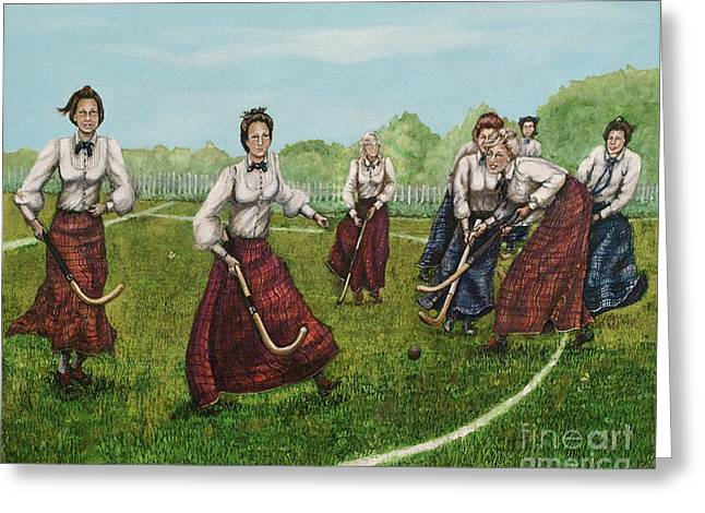 Hockey Paintings Greeting Cards - Play of Yesterday Greeting Card by Linda Simon