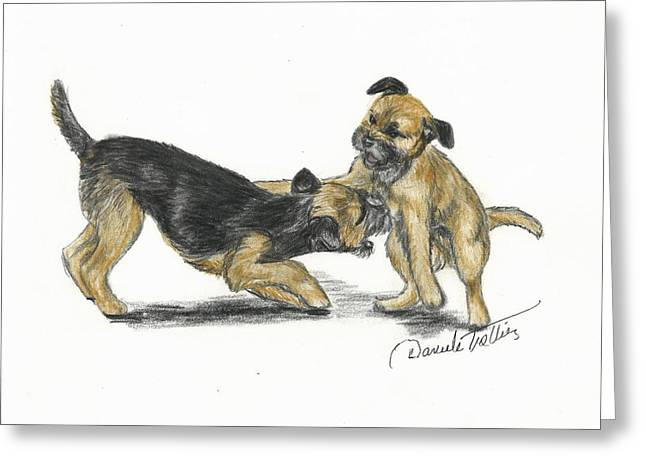 Puppies Drawings Greeting Cards - Play or not Greeting Card by Daniele Trottier