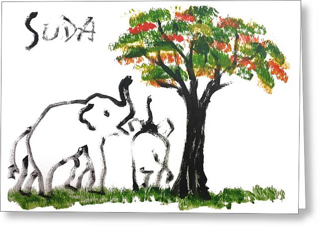 Next To Tree Greeting Cards - Prints - Elephant Paintings - Play Time Flames  Greeting Card by Phongsri Smeaton