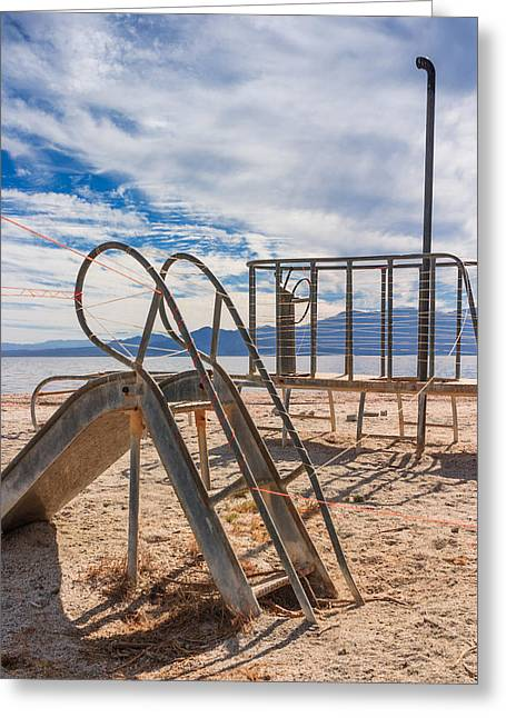Play Time Is Over Slide Playground Greeting Card by Scott Campbell