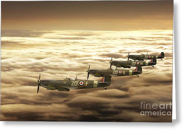 Spitfire Greeting Cards - Play Time Greeting Card by J Biggadike