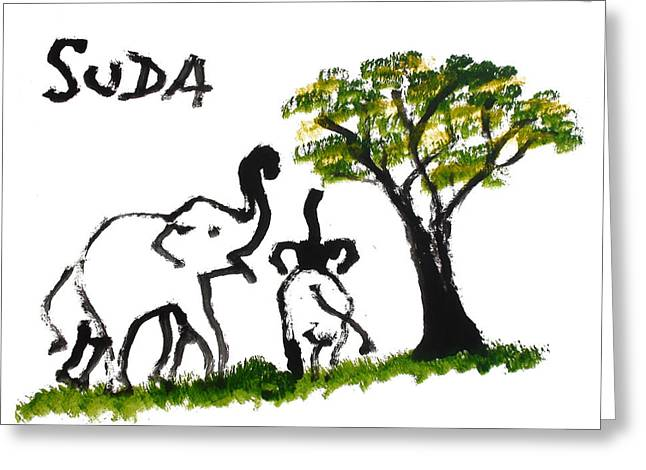 Next To Tree Greeting Cards - Prints - Elephant Paintings - Play Time Greeting Card by Phongsri Smeaton