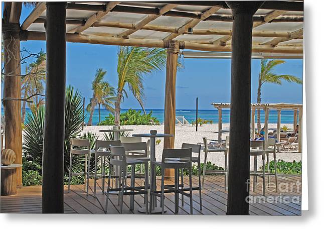 Playa Blanca Greeting Cards - Playa Blanca Restaurant Bar Area Punta Cana Dominican Republic Greeting Card by Heather Kirk