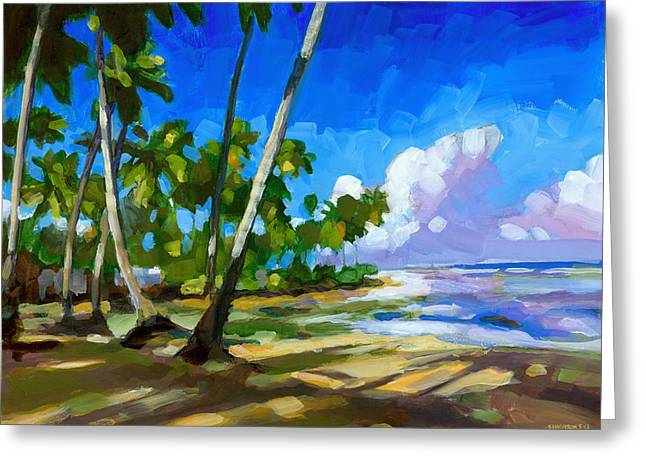 Coconut Palm Tree Greeting Cards - Playa Bonita Greeting Card by Douglas Simonson