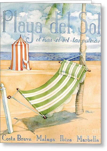 Cabanas Greeting Cards - Playa del Sol Greeting Card by Paul Brent