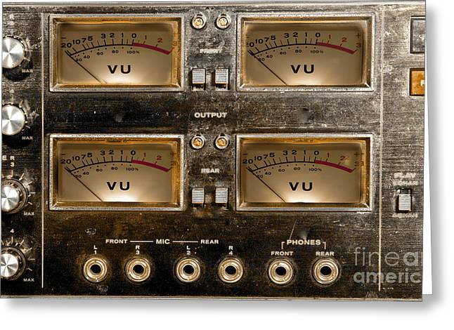 Gunter Nezhoda Greeting Cards - Playback recording VU Meters Grunge Greeting Card by Gunter Nezhoda