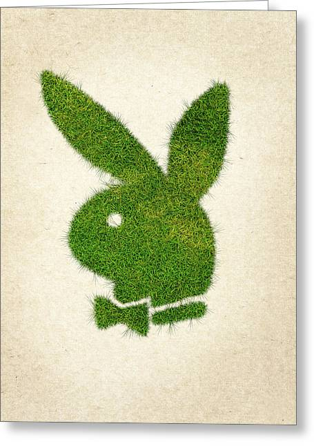 Wasted Greeting Cards - Playboy Grass Logo Greeting Card by Aged Pixel