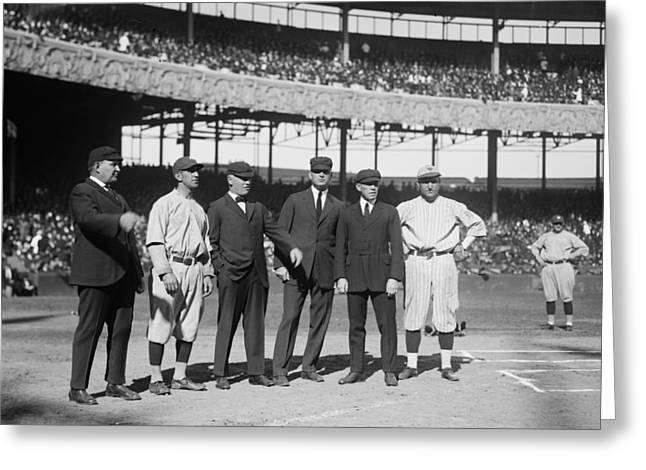 Yankee Stadium Bleachers Greeting Cards - Players and Umps - 1921 World Series Greeting Card by Mountain Dreams