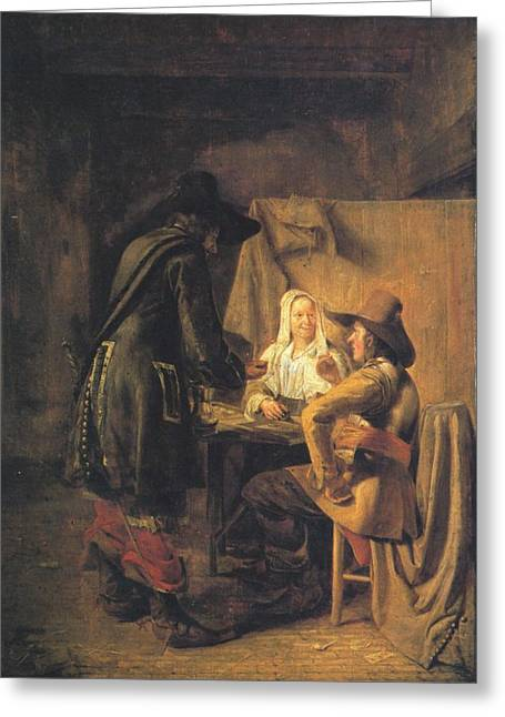 Hooch Greeting Cards - Players at Tric-trac Greeting Card by Pieter de Hooch