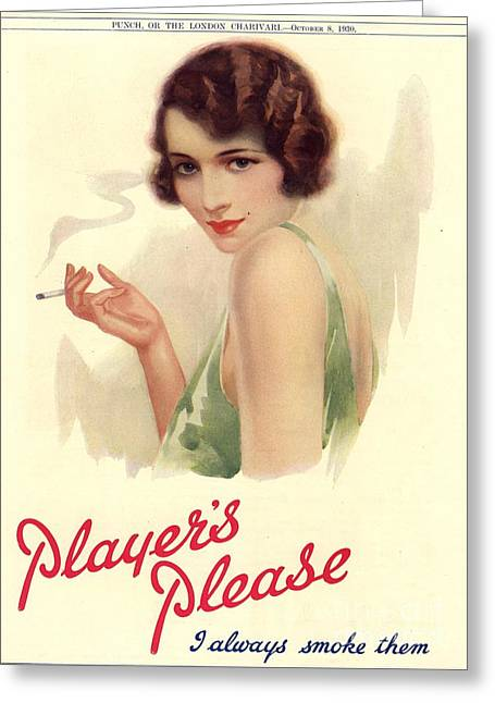 Player Drawings Greeting Cards - PlayerÕs Navy Cut 1930s Uk Cigarettes Greeting Card by The Advertising Archives