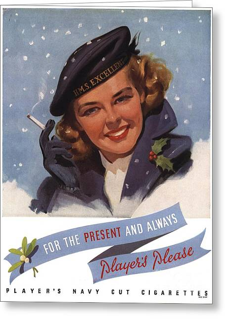Player Drawings Greeting Cards - PlayerÕs Navy Cut 1951 1950s Uk Greeting Card by The Advertising Archives
