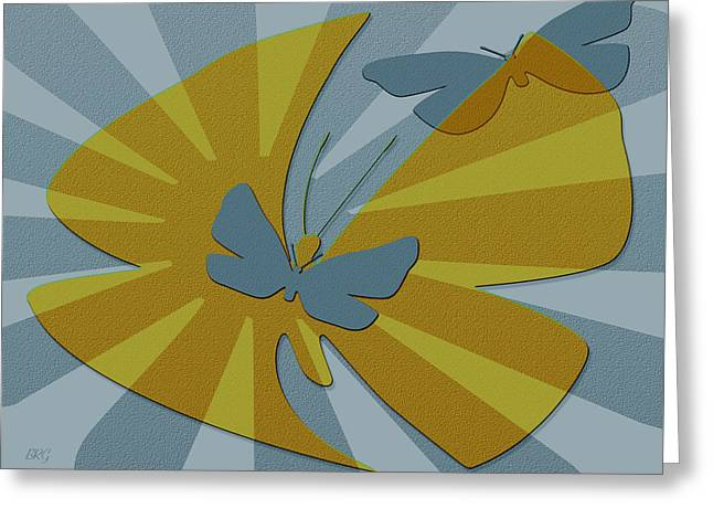 Ben And Raisa Digital Art Greeting Cards - Playful Butterflies In Blue And Yellow Greeting Card by Ben and Raisa Gertsberg