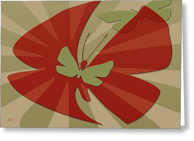 Ben And Raisa Digital Art Greeting Cards - Playful Butterflies In Red And Green Greeting Card by Ben and Raisa Gertsberg