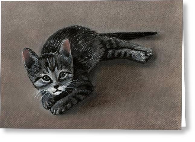 Kid Pastels Greeting Cards - Playful Kitten Greeting Card by Anastasiya Malakhova