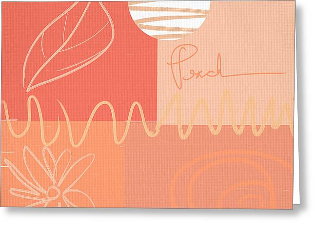 Peach Greeting Cards - Playful Peach Greeting Card by Lourry Legarde