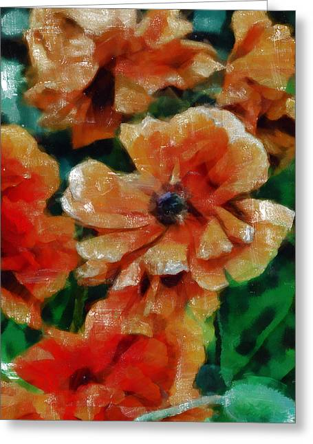Loose Mixed Media Greeting Cards - Playful Poppies 7 Greeting Card by Angelina Vick