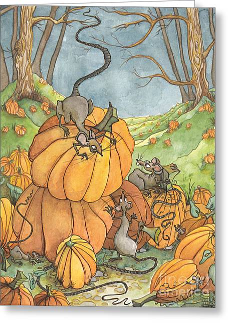 Fall Scenes Drawings Greeting Cards - Playful Rats Greeting Card by Priscilla  Jo
