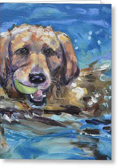 Puppies Greeting Cards - Playful Retriever Greeting Card by Donna Tuten