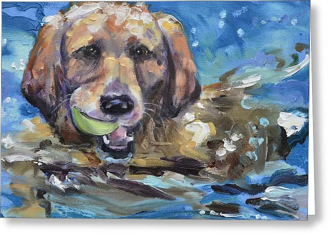 Playful Retriever Greeting Card by Donna Tuten