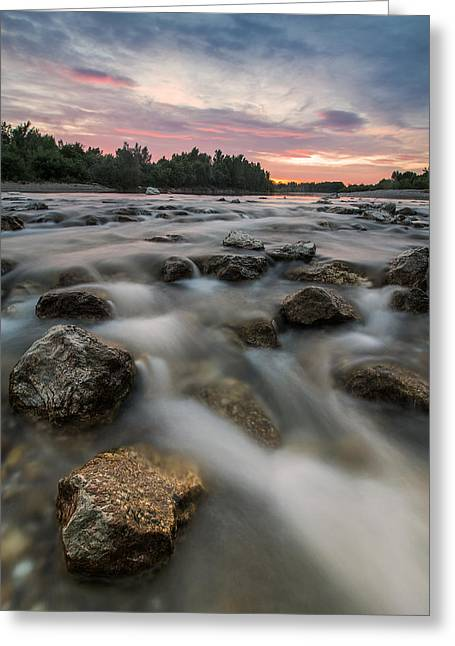 Warm Landscape Greeting Cards - Playful river Greeting Card by Davorin Mance