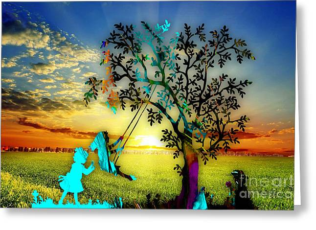 Playful Sunset Greeting Card by Marvin Blaine