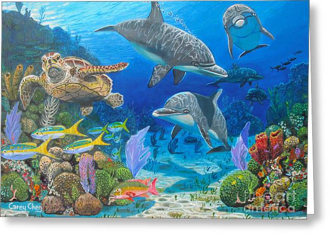 Ocean Turtle Paintings Greeting Cards - Playground Re004 Greeting Card by Carey Chen