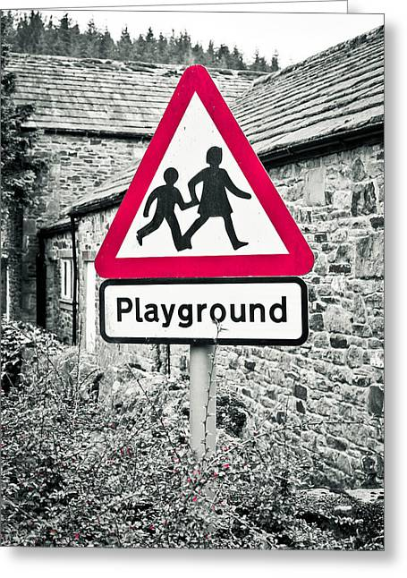 Caution Greeting Cards - Playground Greeting Card by Tom Gowanlock