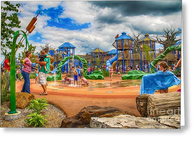 Smothers Park Greeting Cards - Playground Greeting Card by Warrena Barnerd