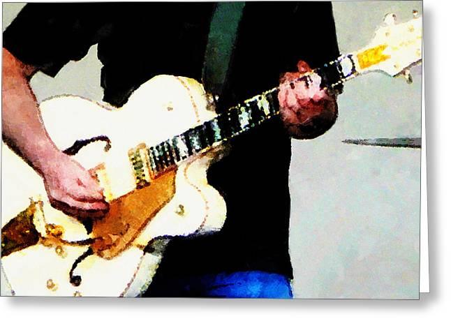 Guitars Greeting Cards - Playing a White Guitar Greeting Card by Susan Savad