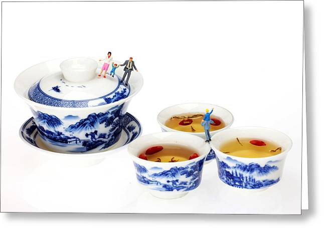 Landscape Ceramics Greeting Cards - Playing among blue-and-white porcelain little people on food Greeting Card by Paul Ge