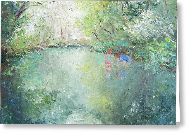 River Scenes Greeting Cards - Playing at the Creek Greeting Card by Jan Matson