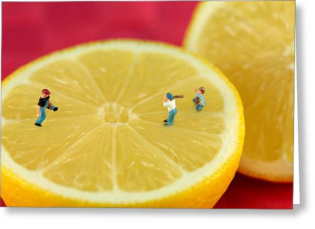 Baseball Art Greeting Cards - Playing baseball on lemon Greeting Card by Paul Ge