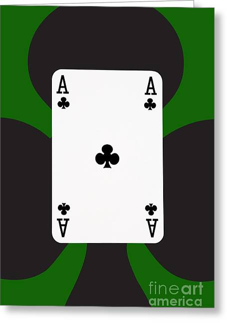 Playing Cards Greeting Cards - Playing Cards Ace of Clubs on Green Background Greeting Card by Natalie Kinnear