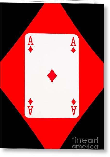 Playing Cards Greeting Cards - Playing Cards Ace of Diamonds on Black Background Greeting Card by Natalie Kinnear