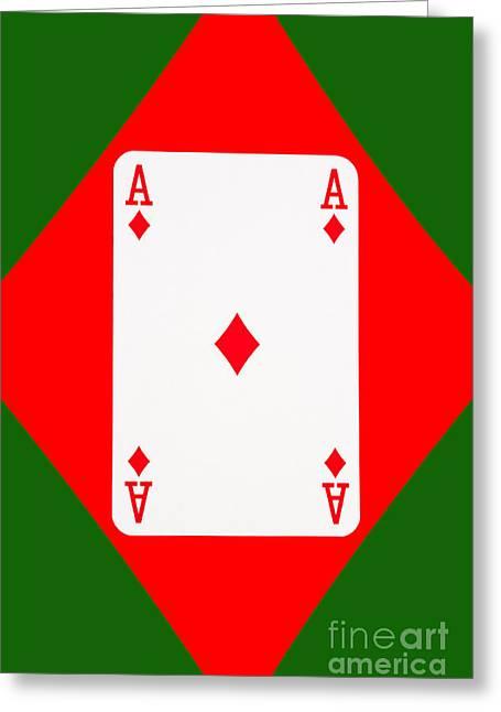 Playing Cards Greeting Cards - Playing Cards Ace of Diamonds on Green Background Greeting Card by Natalie Kinnear