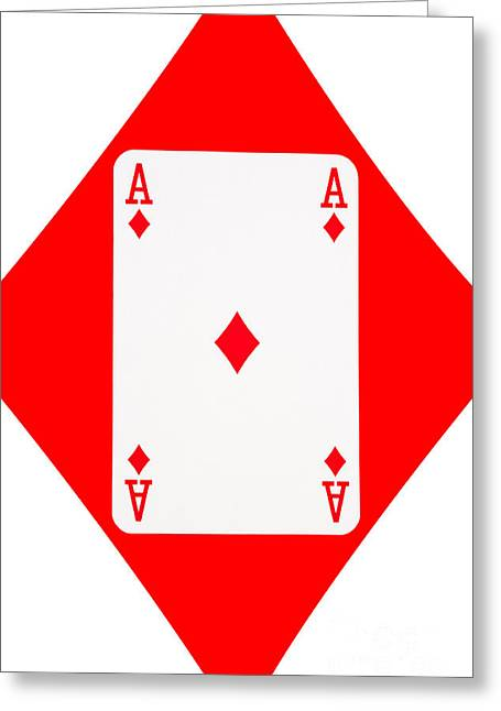 Playing Cards Greeting Cards - Playing Cards Ace of Diamonds on White Background Greeting Card by Natalie Kinnear