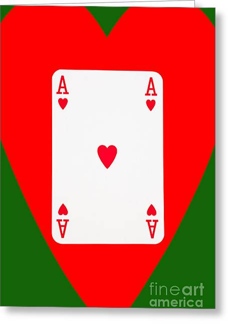 Playing Cards Greeting Cards - Playing Cards Ace of Hearts on Green Background Greeting Card by Natalie Kinnear