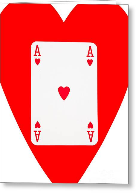 Playing Cards Greeting Cards - Playing Cards Ace of Hearts on White Background Greeting Card by Natalie Kinnear