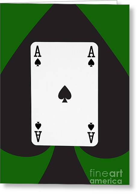 Playing Cards Greeting Cards - Playing Cards Ace of Spades on Green Background Greeting Card by Natalie Kinnear