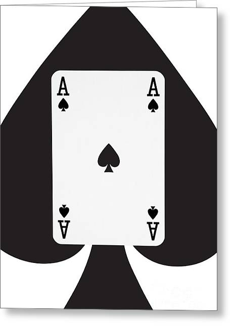Playing Cards Greeting Cards - Playing Cards Ace of Spades on White Background Greeting Card by Natalie Kinnear