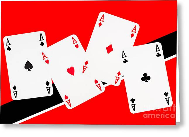 Bachelor-pad Greeting Cards - Playing Cards Aces Greeting Card by Natalie Kinnear