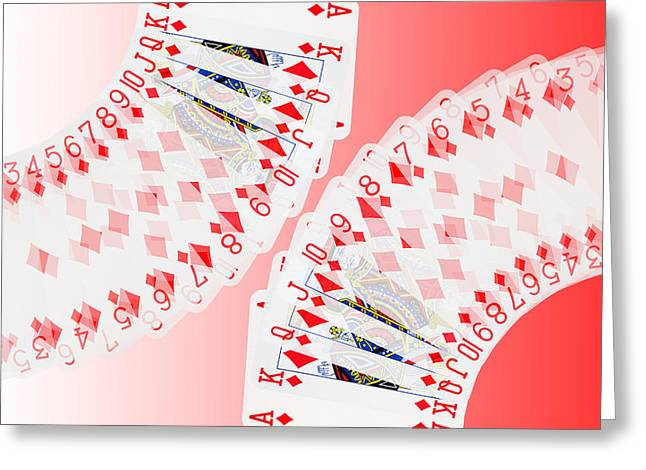 Playing Digital Greeting Cards - Playing Cards all the Diamonds Greeting Card by Natalie Kinnear