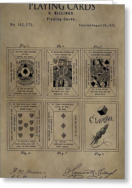 Playing Cards Mixed Media Greeting Cards - Playing Cards Patent Greeting Card by Dan Sproul