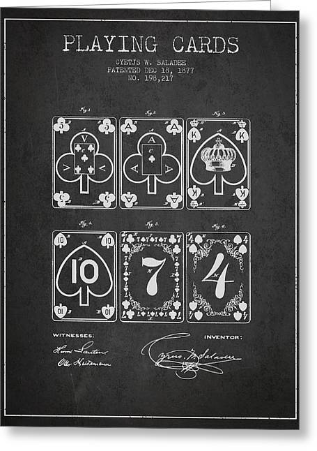Playing Cards Digital Art Greeting Cards - Playing Cards  Patent Drawing From 1877 - Dark Greeting Card by Aged Pixel