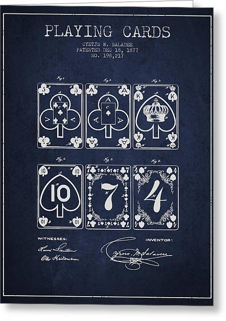 Playing Cards Digital Art Greeting Cards - Playing Cards  Patent Drawing From 1877 - Navy Blue Greeting Card by Aged Pixel