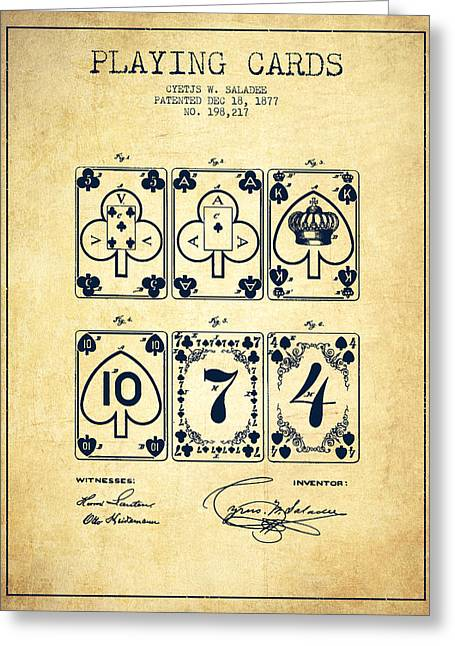 Playing Cards Digital Art Greeting Cards - Playing Cards  Patent Drawing From 1877 - Vintage Greeting Card by Aged Pixel