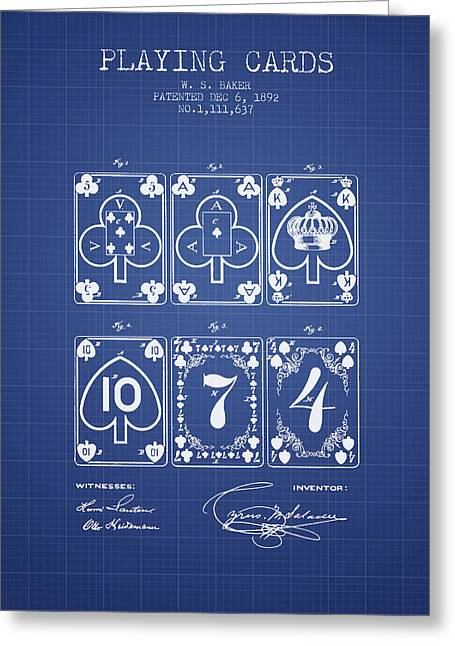 Playing Cards Digital Art Greeting Cards - Playing Cards  Patent From 1877 - Blueprint Greeting Card by Aged Pixel
