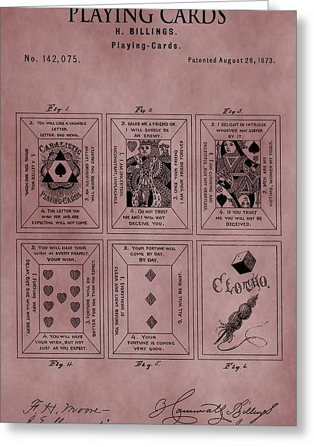 Playing Cards Mixed Media Greeting Cards - Playing Cards Patent Red Greeting Card by Dan Sproul